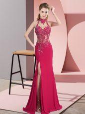 Beauteous Chiffon Sleeveless Floor Length Prom Dress and Beading