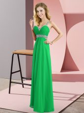 Spectacular Green Chiffon Criss Cross Straps Sleeveless Floor Length Beading