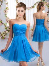 Dramatic Sweetheart Sleeveless Chiffon Dama Dress for Quinceanera Ruching Lace Up