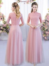 Modest Pink Tulle Zipper High-neck Half Sleeves Floor Length Quinceanera Court of Honor Dress Lace