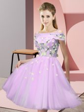 Knee Length Lilac Bridesmaid Dresses Tulle Short Sleeves Appliques