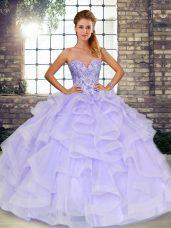 Extravagant Beading and Ruffles Vestidos de Quinceanera Lavender Lace Up Sleeveless Floor Length