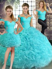 Artistic Fabric With Rolling Flowers Sleeveless Floor Length Quinceanera Dress and Beading