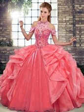Lovely Watermelon Red Ball Gowns Organza Halter Top Sleeveless Beading and Ruffles Floor Length Lace Up Quinceanera Gown