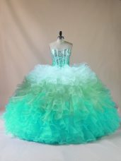 Popular Tulle Sleeveless Floor Length Quinceanera Dress and Beading and Ruffles