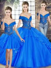 Perfect Tulle Off The Shoulder Sleeveless Lace Up Beading and Ruffles Ball Gown Prom Dress in Royal Blue