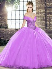 Modest Organza Off The Shoulder Sleeveless Brush Train Lace Up Beading Sweet 16 Quinceanera Dress in Lavender
