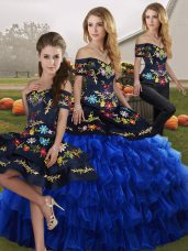 1e51e23f34 Sleeveless Floor Length Embroidery and Ruffled Layers Lace Up 15 Quinceanera  Dress with Blue And Black  US  274.4200