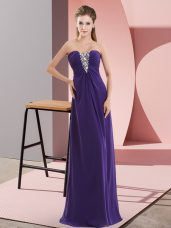 Sweetheart Sleeveless Zipper Prom Evening Gown Purple Chiffon