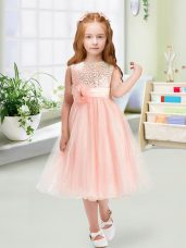 Custom Design Tea Length Zipper Flower Girl Dresses for Less Baby Pink for Wedding Party with Sequins and Hand Made Flower