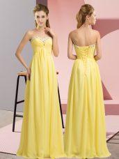 Hot Selling Yellow Lace Up Prom Dress Beading Sleeveless Floor Length