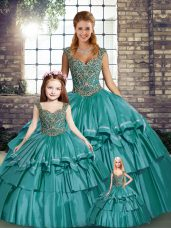 Classical Sleeveless Floor Length Beading and Ruffled Layers Lace Up Sweet 16 Dress with Teal