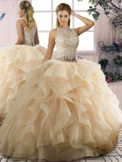 Floor Length Champagne Ball Gown Prom Dress Scoop Sleeveless Lace Up