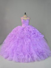 Glorious Lavender Scoop Lace Up Beading and Ruffles Vestidos de Quinceanera Sleeveless