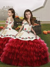 Nice Red Ball Gowns Straps Sleeveless Organza Floor Length Lace Up Embroidery and Ruffled Layers Little Girl Pageant Dress