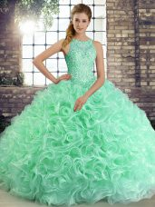 Apple Green Ball Gowns Fabric With Rolling Flowers Scoop Sleeveless Beading Floor Length Lace Up 15th Birthday Dress