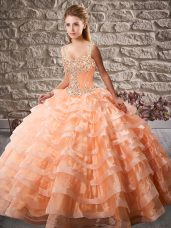 Lace Up Quinceanera Dresses Orange for Sweet 16 and Quinceanera with Beading and Ruffled Layers Court Train