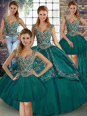 Teal Sleeveless Beading and Embroidery Floor Length Quince Ball Gowns