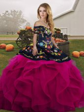 Chic Fuchsia Sleeveless Tulle Lace Up Sweet 16 Quinceanera Dress for Military Ball and Sweet 16 and Quinceanera