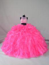 Hot Pink Zipper Scoop Beading and Ruffles Quinceanera Dress Organza Sleeveless Court Train