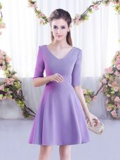 Lovely A-line Vestidos de Damas Lavender V-neck Chiffon Half Sleeves Mini Length Zipper