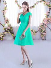 Perfect V-neck Cap Sleeves Lace Bridesmaid Dresses Ruching Lace Up