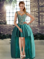 Sleeveless High Low Beading Lace Up Pageant Dress with Teal