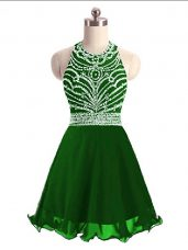 Super Mini Length A-line Sleeveless Green Dress for Prom Lace Up