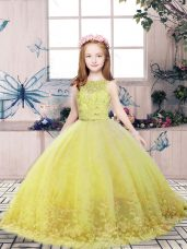 Scoop Sleeveless Tulle Party Dress Wholesale Lace and Appliques Backless