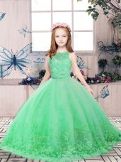Fantastic Sleeveless Floor Length Lace and Appliques Backless Little Girls Pageant Dress Wholesale with Green