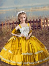 Gold Sleeveless Satin Lace Up Girls Pageant Dresses for Wedding Party