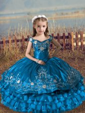 High End Blue Sleeveless Floor Length Embroidery and Ruffled Layers Lace Up Little Girl Pageant Dress