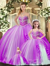 Clearance Sleeveless Beading Lace Up Sweet 16 Quinceanera Dress