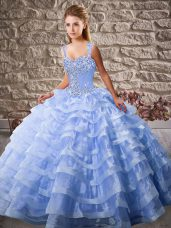 Dynamic Organza Sleeveless Sweet 16 Quinceanera Dress Court Train and Beading and Ruffled Layers