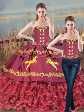 Burgundy Two Pieces Sweetheart Sleeveless Satin and Organza Brush Train Lace Up Embroidery and Ruffles Sweet 16 Dress