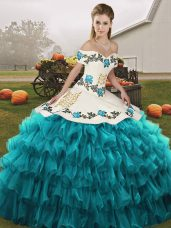 Delicate Teal Sleeveless Organza Lace Up Quinceanera Gown for Military Ball and Sweet 16 and Quinceanera