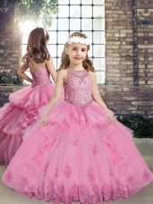 Sleeveless Lace Up Floor Length Beading and Appliques Little Girl Pageant Gowns