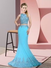 Aqua Blue Prom Gown Satin Sweep Train Sleeveless Beading and Appliques