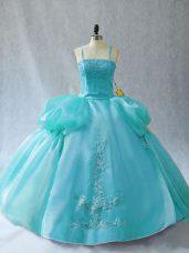 Smart Aqua Blue Sleeveless Floor Length Appliques Lace Up Sweet 16 Dress