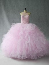 Superior Pink 15th Birthday Dress Sweet 16 and Quinceanera with Beading and Ruffles Halter Top Sleeveless Lace Up