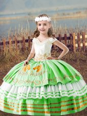 Elegant Satin Lace Up Pageant Dress for Girls Sleeveless Floor Length Embroidery