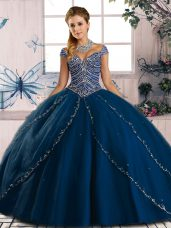 Decent Sweetheart Cap Sleeves Quinceanera Dress Brush Train Beading Blue Tulle