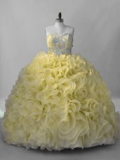 Great Yellow Ball Gowns Beading 15 Quinceanera Dress Lace Up Fabric With Rolling Flowers Sleeveless