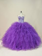 Glamorous Purple Tulle Lace Up Ball Gown Prom Dress Sleeveless Floor Length Beading and Ruffles