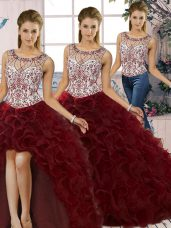 Scoop Sleeveless Lace Up Sweet 16 Dresses Burgundy Organza