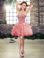 Classical Sleeveless Tulle Mini Length Lace Up Party Dress for Girls in Watermelon Red with Beading and Ruffles