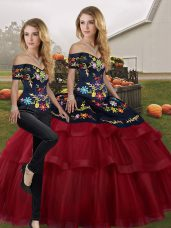 Traditional Wine Red Off The Shoulder Lace Up Embroidery and Ruffled Layers Sweet 16 Dresses Brush Train Sleeveless
