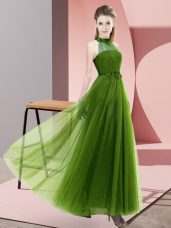 Luxurious Sleeveless Floor Length Beading and Appliques Lace Up Bridesmaid Gown with Olive Green