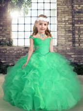 Straps Sleeveless Lace Up Party Dress Apple Green Organza