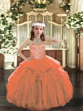 Gorgeous Orange Ball Gowns Tulle Halter Top Sleeveless Beading and Ruffles Floor Length Lace Up Juniors Party Dress